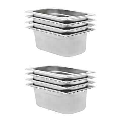 vidaXL 8x Pans GN 1/4 100mm Stainless Steel Kitchen Stackable Tray Container