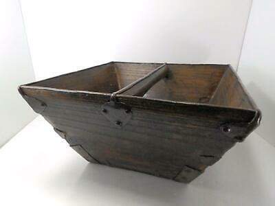 Primitive Antique Vintage Asian Wooden Rice Measuring Bin Handled Box Basket