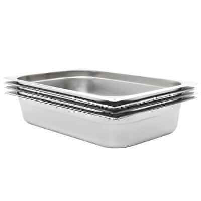 vidaXL 4x Gastronorm Container GN 1/1 100mm Stainless Steel Stackable Tray Pan