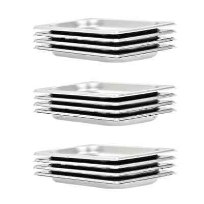 vidaXL 12x Gastronorm Containers GN 1/4 20mm Stainless Steel Stackable Tray