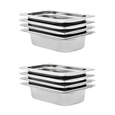 vidaXL 8x Gastronorm Containers GN 1/4 65mm Stainless Steel Stackable Tray