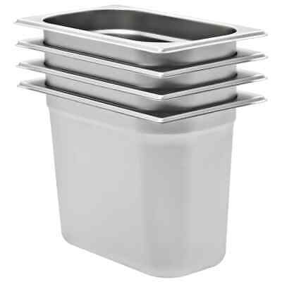 vidaXL 4x Gastronorm Containers GN 1/4 200mm Stainless Steel Stackable Tray