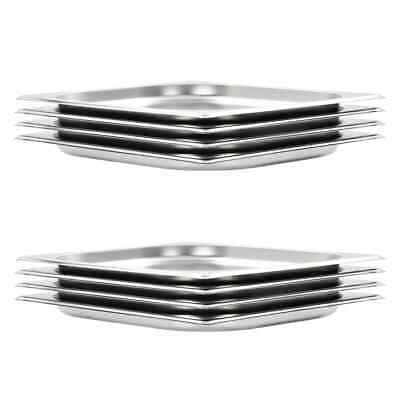 vidaXL 8x Gastronorm Containers GN 1/2 20mm Stainless Steel Stackable Tray