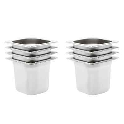 vidaXL 8x Gastronorm Containers GN 1/6 150mm Stainless Steel Stackable Tray