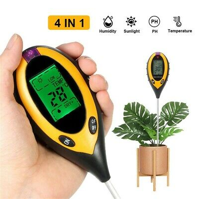4 In1 Garden Soil Tester LCD Digital Temperature Sunlight Moisture PH Meter HOT