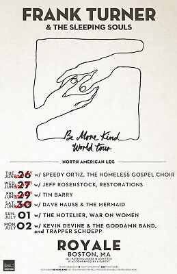 FRANK TURNER & THE SLEEPING SOULS 2018 BOSTON, MASS CONCERT TOUR POSTER - Folk