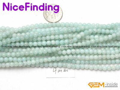 Natural Round Green Amazonite Loose Stone Beads For Jewelry Making Strand 15''