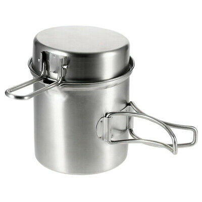 Portable Stainless Steel Cooking Pot Fry Pan Set Camping Picnic Outdoor Cookware
