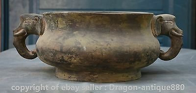 "13"" Xuande Marked Old Chinese Bronze Dynasty Elephant Ear Incense Burner Censer"