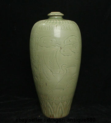 "13.2"" Antique Old Chinese Green Porcelain Dynasty Crane Birds Flower Bottle Vase"
