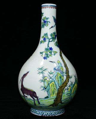 "13"" Marked Chinese Palace Colour Porcelain Pine Tree Crane Deer Bottle Vase Pot"