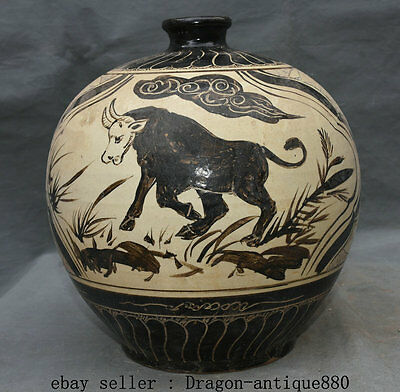 "11"" Rare Old Chinese Cizhou Kiln Porcelain Dynasty Bull Sheep Goat Pot Jar Crock"