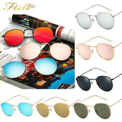 Retro Women Men Metal Frame Sunglasses Glasses Vintage Round Outdoor Eyewear AUS