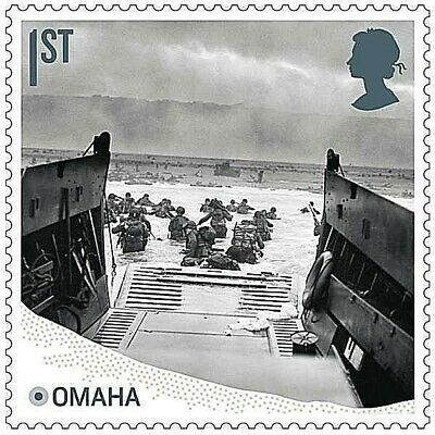 D-Day landings at Omaha Beach, Normandy illustrated on 2019 stamp - U/M