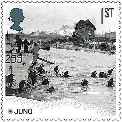 D-Day landings at Juno Beach, Normandy illustrated on 2019 stamp - U/M
