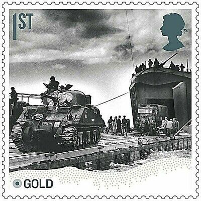 D-Day landings at Gold Beach, Normandy illustrated on 2019 stamp - U/M