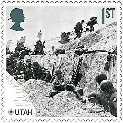 D-Day landings at Utah Beach, Normandy illustrated on 2019 stamp - U/M