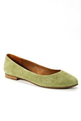 9fbf1ca54 Margaux Womens Ballet Flats Green Suede Patent Leather Trim Size 37 7