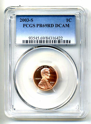 Pcgs Pf69 Rd Deep Cameo 2003 S Lincoln Proof Dcam Gem Bu 1C Cent Penny Coin#1683