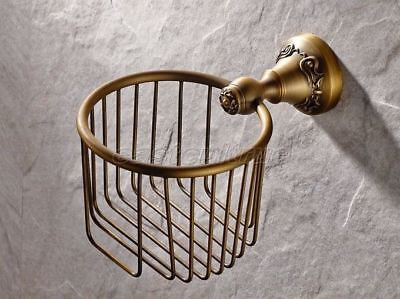 Carved Art Antique Brass Toilet Paper Roll Holder Bathroom Wall Mounted Eba426