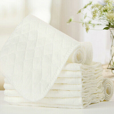 1/5/10x New Reusable Baby Cloth Diaper Nappy Liners insert 3 Layers Cotton White