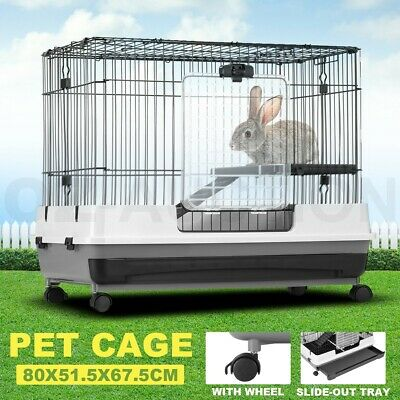 Metal Rabbit Cage Hutch Cat Ferret Guinea Pigs House Small Animal Pet Home Wheel