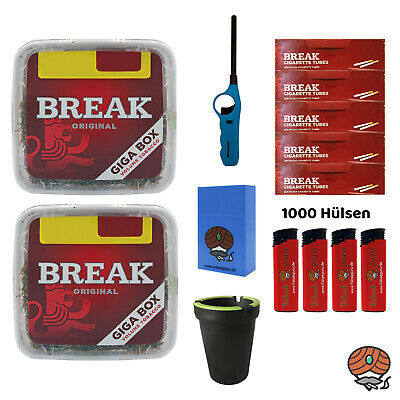 2x Break Volumentabak Giga Box 300g + Break Hülsen + Stabfeuerzeug