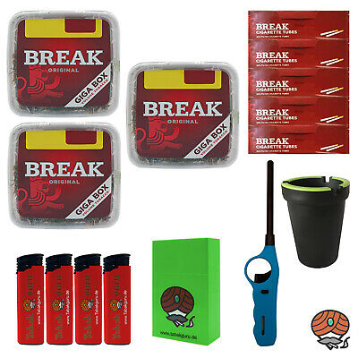 3x Break Volumentabak Giga Box 300g + Break Hülsen + Stabfeuerzeug