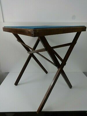 Vintage Card Games Table Traditional Folding Wood Desk Blue Top 56x56cm Square