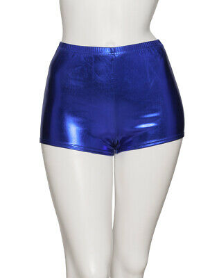 Navy Blue Shiny Metallic Dance Hot Pants Shorts By Katz Dancwear KHPM-5 SECONDS