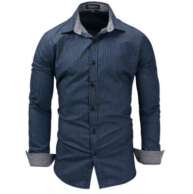 Luxury Fashion Men's Shirt Striped Long Sleeve Cotton Shirts Casual Shirt Tops