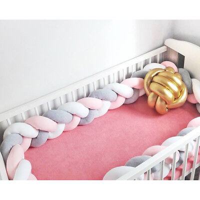 2M/3M Infant Plush Crib Pillow Pad Protector Bumper Bed Bedding Cot Braid H