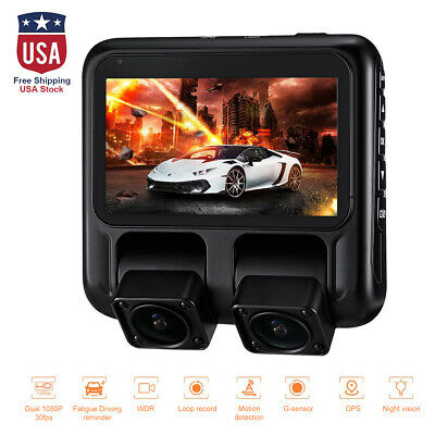 X100 Cam Dual 1080P Night Vision DVR Car Camera GPS Dashcam Dashboard US