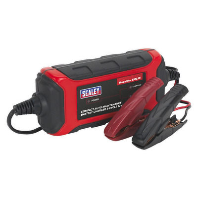 SMC12 Sealey Battery Charger Compact Auto Maintenance 1.5A - 3-Cycle 12V