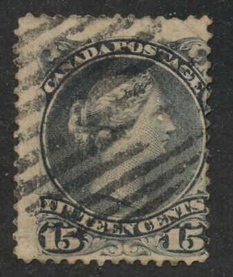 Canada 1868 Large Queen 15c deep violet on thick paper #30c used