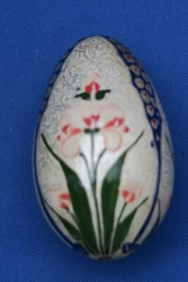 LACQUERED HAND PAINTED EGG IRIS on Decorated background