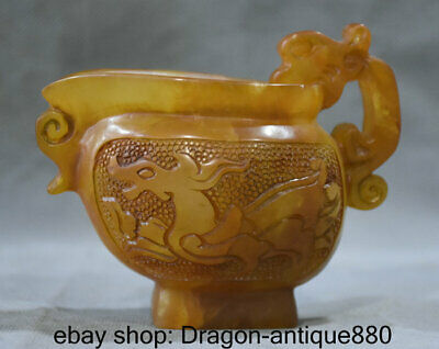 "4.4"" Old China Shoushan Stone Dynasty Carved Dragon Beast wineglass drinking cup"