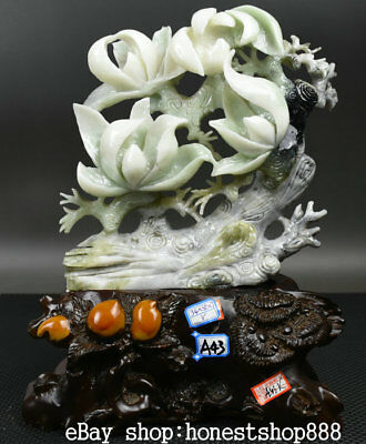 """13.6"""" Exquisite China Natural Xiu Green Jade Hand Carved Lotus Flower Statue"""