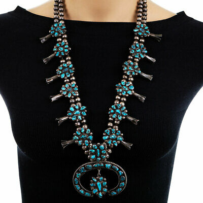 *NWT* Full Squash Blossom Natural Turquoise Necklace-7322130089