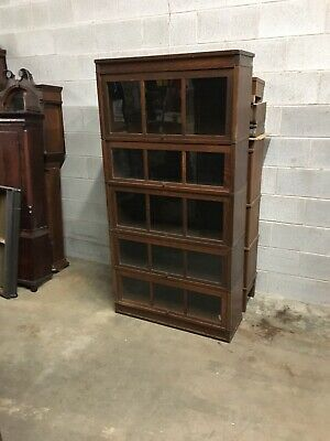 Rare Antique Macey 5 Stack Mission Oak Barrister Bookcase W/ 3 Panel Glass Doors