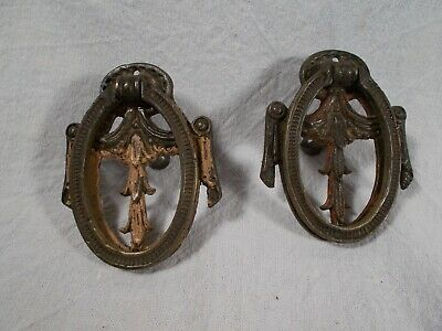 ANTIQUE pair of VINTAGE Victorian CAST Brass Embossed Bail Finger PULLS c1920s