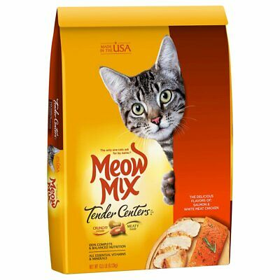 Meow Mix Tender Centers Dry Delicious Salmon and White Neat Flavors Cat Food