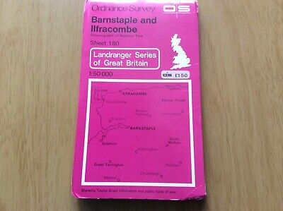 "ORDNANCE SURVEY ""LANDRANGER""Series. No.180 BARNSTAPLE and ILFRACOMBE ~ 1979"