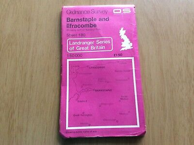 "ORDNANCE SURVEY ""LANDRANGER""Series. No.180 BARNSTAPLE and ILFRACOMBE ~ 1974"