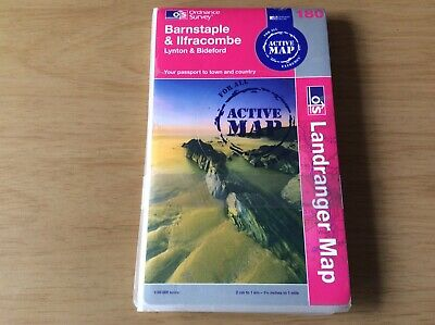 "Ordnance Survey Landranger ""ACTIVE MAP""Sheet No.180 ~ BARNSTAPLE & ILFRACOMBE"