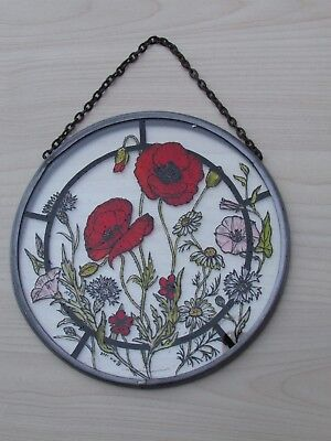 """Vintage Sun Catcher """"Poppies"""" Hand Painted By W.h. Simulated Lead Design England"""