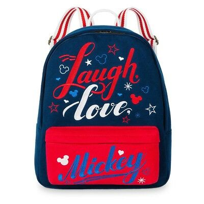 Disney Theme Parks Americana Laugh Love Mickey Mouse Icons Book Bag Backpack NEW