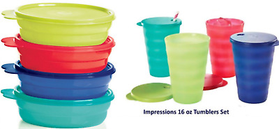 Tupperware Impressions Microwave Safe Cereal Bowls & 16 oz Straw Seal Tumblers