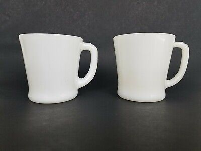 Pair Vtg Fire King Cups Mugs Anchor Hocking D Handle White Milk Glass Coffee