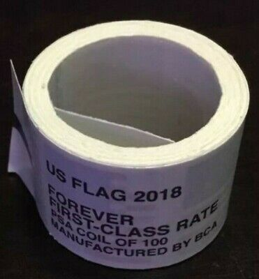 *Usps Forever Stamps 2018 Us Flag Roll/Coil 100 Free Shipping